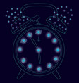 contour of the old clock with an alarm clock vector image