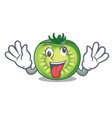 crazy green tomato slices isolated with mascot vector image vector image