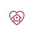creative heart house design logo vector image vector image