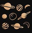 cute solar system gold galaxy doodle sticker