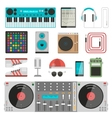 DJ music equipment set vector image vector image