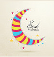 eid mubarak concept with colorful moon on light vector image