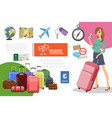 flat travel elements composition vector image vector image
