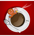 gingerbread cookie and sugar cane in chocolate cup vector image