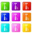 hammer and nails icons 9 set vector image vector image