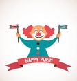 happy Purim Jewish holiday clown holding vector image