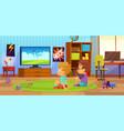 kids watch tv children interior child boy vector image