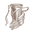 male hand holds glass with drink monochrome vector image vector image