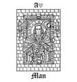 man or knight tarot card from lenormand gothic vector image vector image