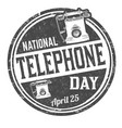 national telephone day grunge rubber stamp vector image
