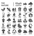 nature glyph signed icon set environment symbols vector image