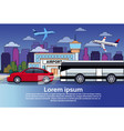 night road traffic with bus and car over city vector image