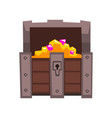 opened treasure chest full of golden coins and vector image vector image