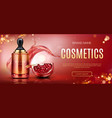 pomegranate cosmetic bottle mock up beauty banner vector image vector image