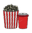 pop corn and soda isolated icon vector image vector image