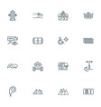 public skyline icons line style set with pizzeria vector image
