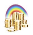 Rainbow over money vector image vector image