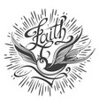 retro tattoo with swallow and lettering faith vector image vector image