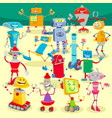 robots cartoon characters large group vector image vector image