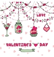 Romantic cardHeart garlandsletteringdecor vector image vector image