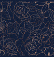 seamless pattern with roses and daffodils on dark vector image