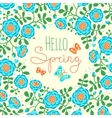 Season card Hello Spring with cute flowers and vector image vector image