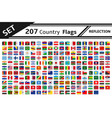 set 207 country flags reflection vector image vector image
