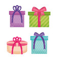 set gifts boxes presents colors and forms vector image