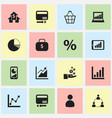 set of 16 editable statistic icons includes vector image vector image