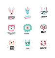 set of cute animal icons vector image