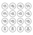 set round line icons of helicopter vector image vector image
