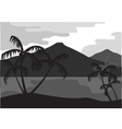 Silhouette of coconut tree with mountain vector image vector image