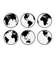 Six black and white Earth globes vector image vector image