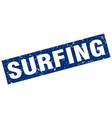 square grunge blue surfing stamp vector image vector image