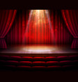 stage red curtains spotlight seats background vector image