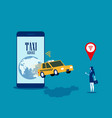 taxi service businesswoman call with mobile vector image