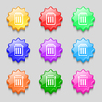 trash icon sign symbol on nine wavy colourful vector image
