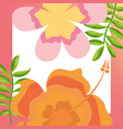 tropical leaves hibiscus flower branches natural vector image vector image