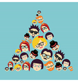 Vintage hipsters faces triangle vector image