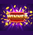 winner shiny banner with burning lamps and coins vector image