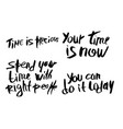 you time is now handwritten lettering vector image vector image