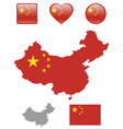 Chinese Flag and icons vector image