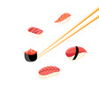 a delicious sushi background vector image