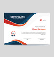 abstract blue and orange waves certificate