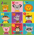 alphabet card with cute animals j to r vector image vector image