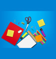 back to school card supplies realistic vector image vector image
