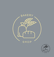 Bakery shop logo Sack of flour and bread Spikelets vector image vector image