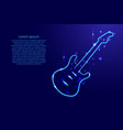 blue guitar outline with luminous cosmic stars vector image