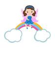 cartoon fairy sitting on the rainbow cartoon vector image vector image