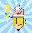 cartoon pencil with award vector image vector image